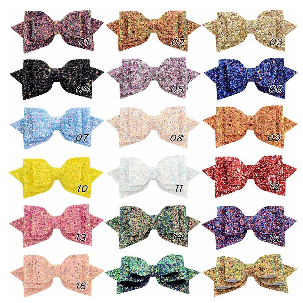 5Inches Big Glitter Hairpins Hair Bow For Baby Children Kids Women Hair Clip Headwear Hair Accessories