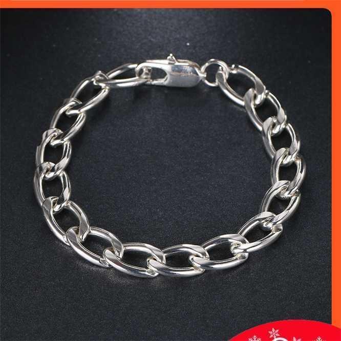 Banhado de prata atmosférico anel jóias simples pulseira acessória