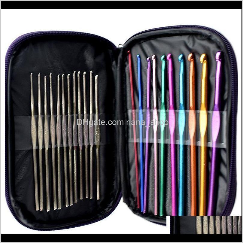 Crochet Aiguilles Aessories Outils Produits capillaires Drop Livraison 2021 Ensemble de 22 crochets au crochet en aluminium pour tricot artisanat avec boîtier 36vec