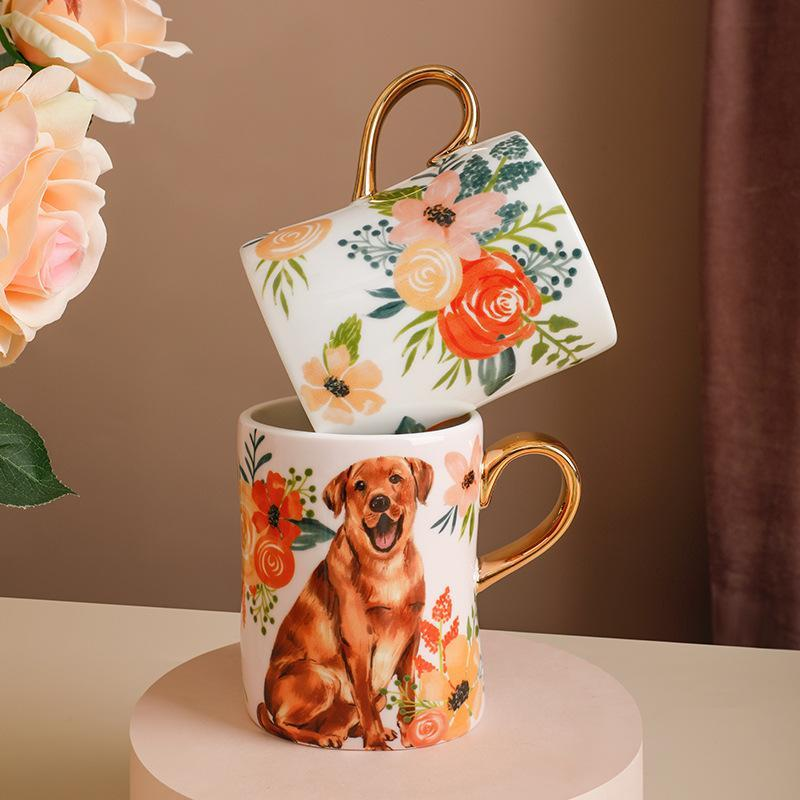 American Cartoon Dog Mugs With Gold Handle Ceramic Animal Cup For Coffee Tea Water Milk Drinkware Kitchen Office Home Decor Gift