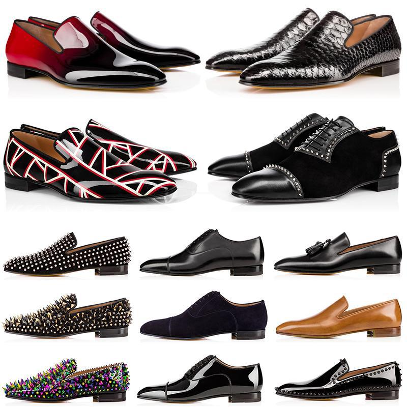 [Original box] mens loafers red bottom dress shoes Matt Patent Leather Suede Round Toes men spikes fashion Casual Sneakers Wedding Business 39-47