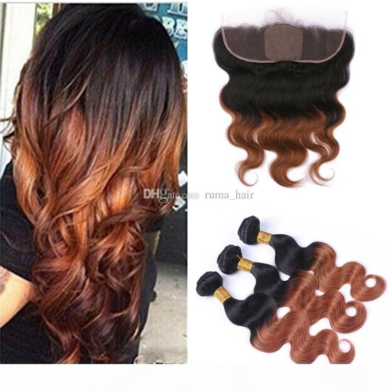 Raízes escuras Weaves de cabelo e renda frontal frontal frontal com extensões de cabelo de onda corporal pacotes de cabelo malaio virgem com frontal