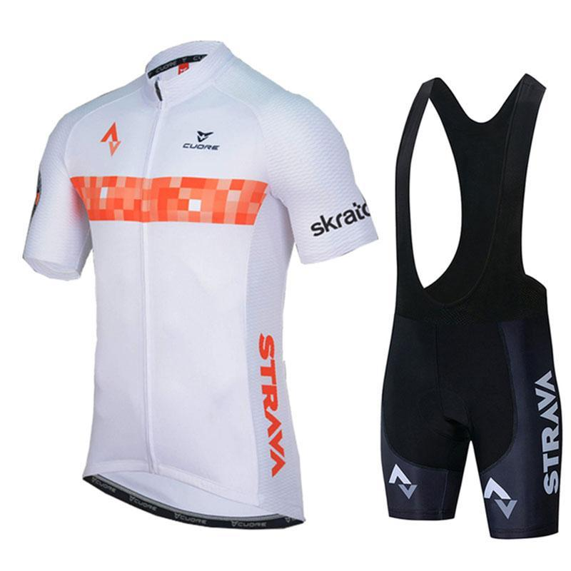 Racing Sets White STRAVA Pro Bicycle Team Short Sleeve Men's Cycling Jersey Summer Breathable Clothing