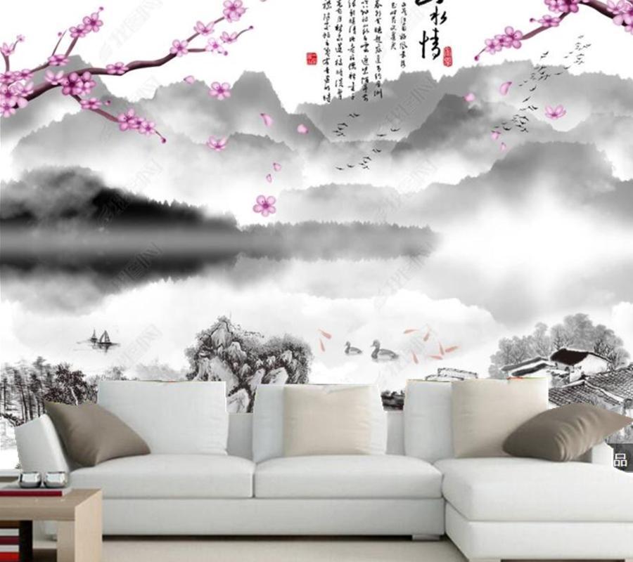 Papel De Parede Pittura inchiostro cinese di paesaggio e fiori 3D retro carta da parati murale, soggiorno TV camera da letto camera da letto decoratore per la casa sfondi