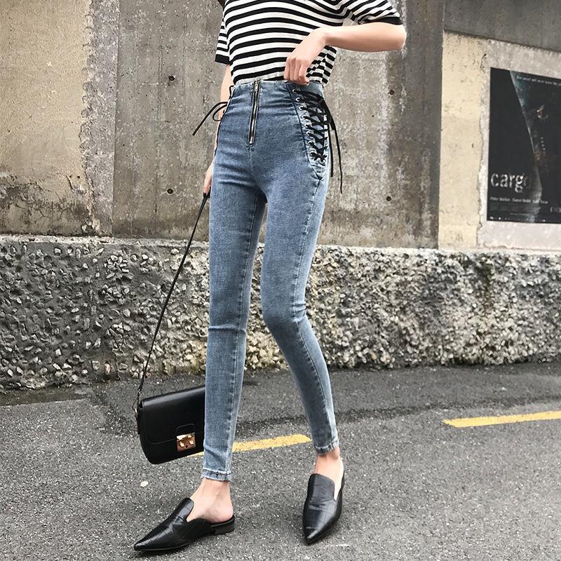 Calça jeans feminino calças jeans lace up no lado jeans womens plus siz 5xl estiramento alta cintura feminino calças magras para mulheres calças