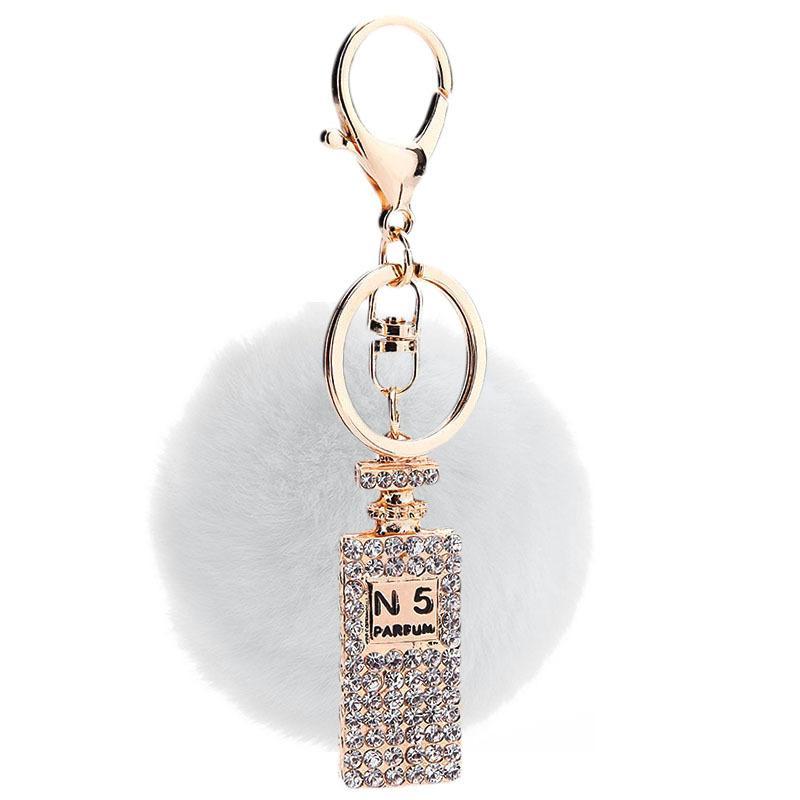 Mulheres jóias strass garrafa forma pingente chaveiros presentes de pele falsificados bolsa de carro chave titular garotas festa presente