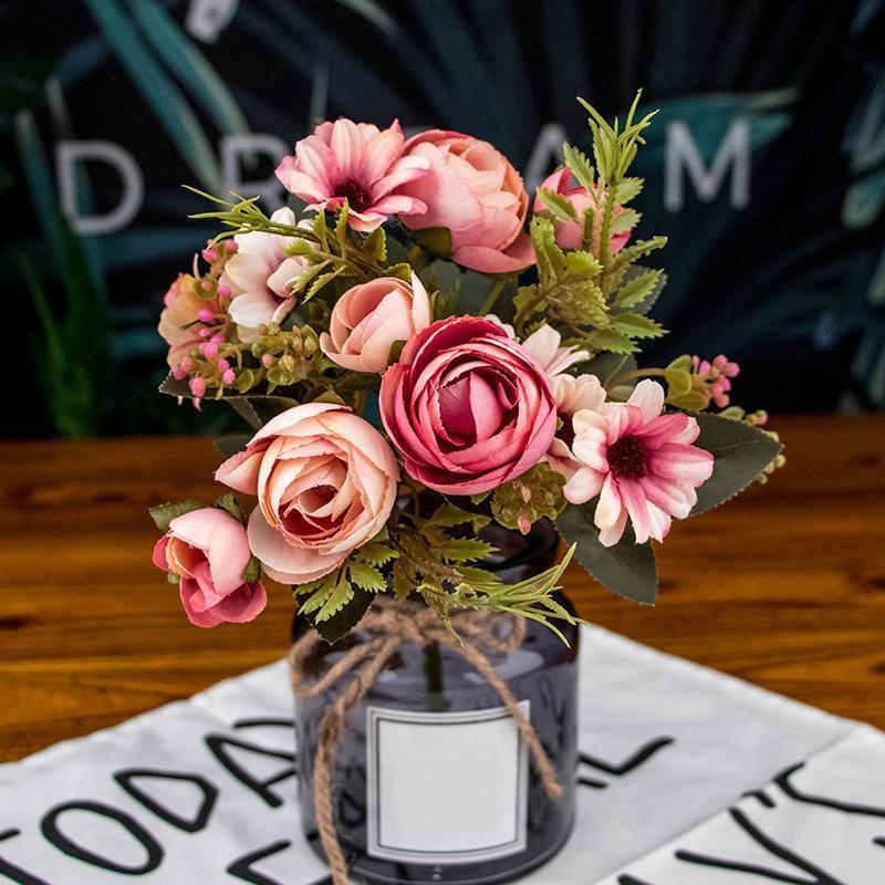 الاصطناعي وهمية الفاوانيا الحرير الزهور الزفاف باقة الكوبية ديكور المنزل ديكور المنزل الزخرفية