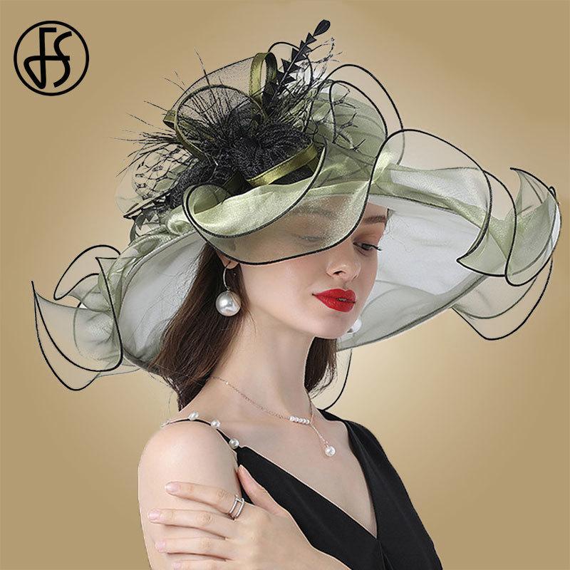 Fs fashion قبعة للنساء كنتاكي ديربي الوردي الأورجانزا القبعات السيدات الشاي حفل زفاف كبير واسعة بريم fascinator خمر فيدوراس 210323