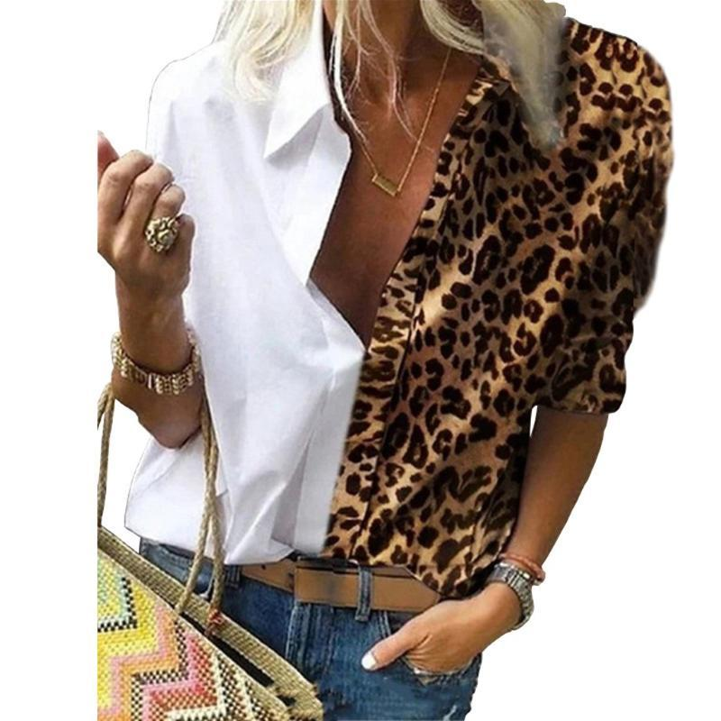 Women's Blouses & Shirts Leopard Patchwork Blouse Tops S-5XL Women Casual V Neck Long Sleeve Female Spring Fall Spliced Blusas De Mujer Y Ca
