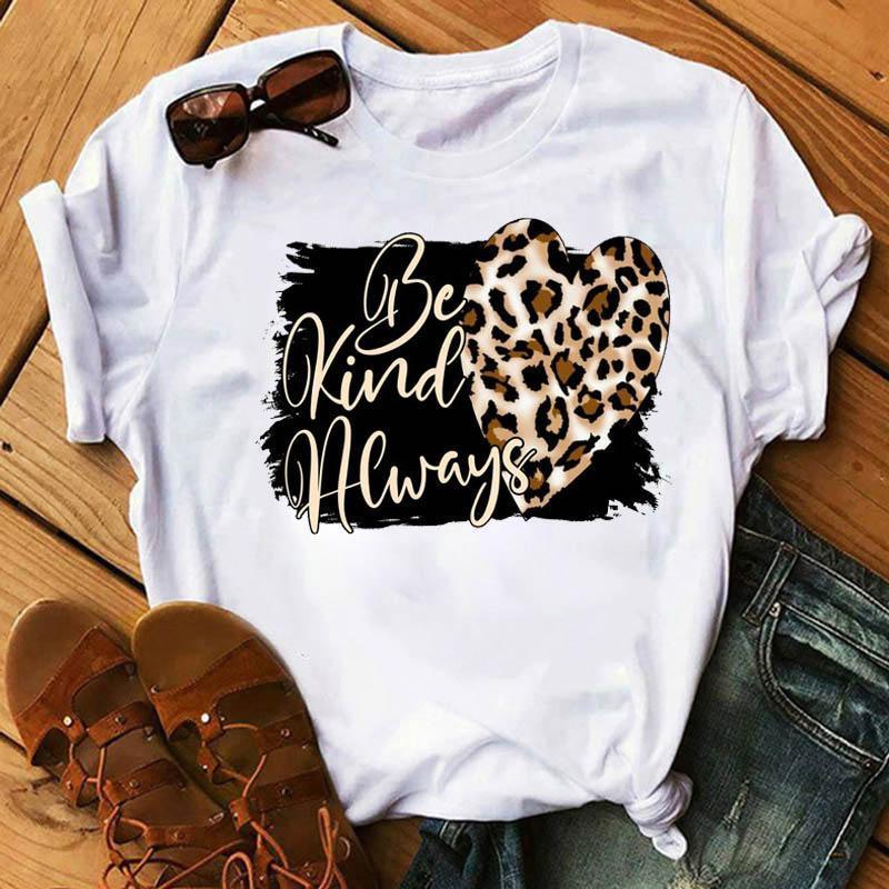 Fashion Women T Shirt Graphic Leopard Love Print Tee Tops Short Sleeve 90s Female Tees Women's T-Shirt Femme