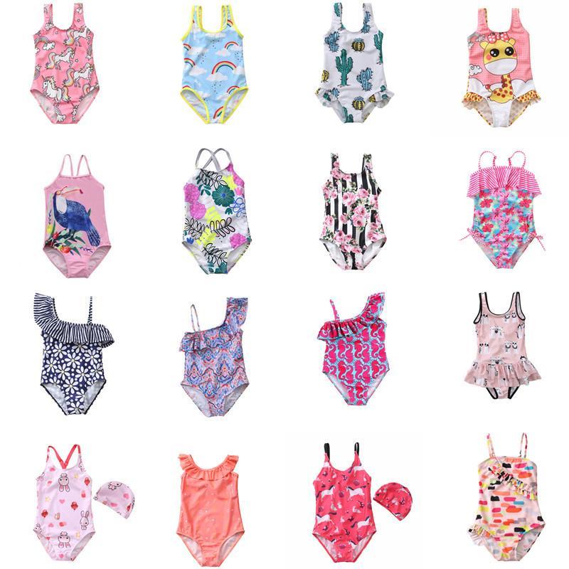 5 قطع الطفل بنات قطعة واحدة الكرتون المطبوعة مصمم المايوه 1-4y 39 ألوان الاطفال شاطئ ملابس السباحة ملابس السباحة