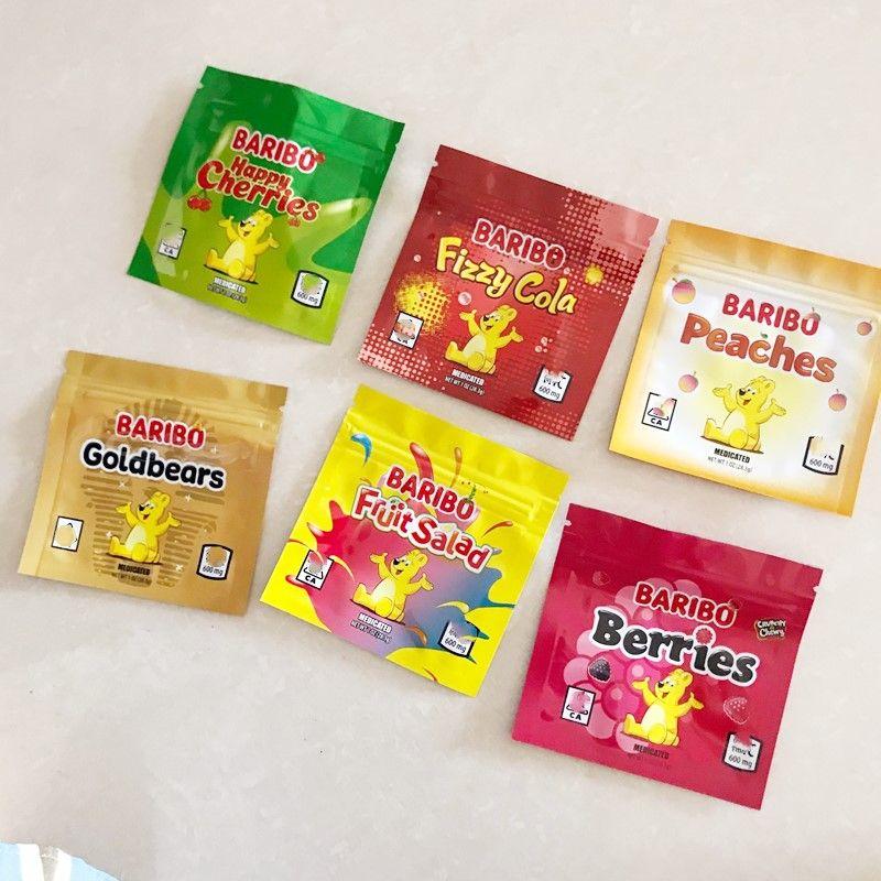 Boş 600 mg Baribo Çanta Sourz Gummies Realable Edilebilir Yerler Goldbears Mutlu Kiraz Meyveleri Meyve Salatası Fizzy Cola Şeftali Mylar Ambalaj
