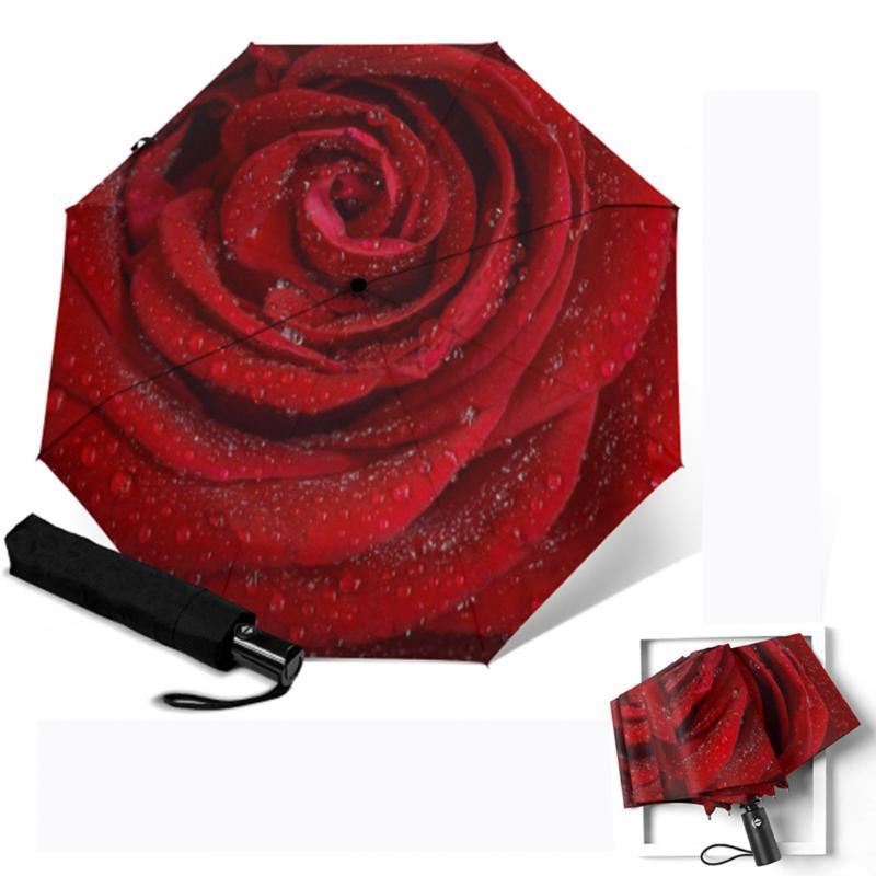 Parapluies de luxe pliante parapluie automatique Protection compacte à trois pliants transoulant coupe-vent parasol