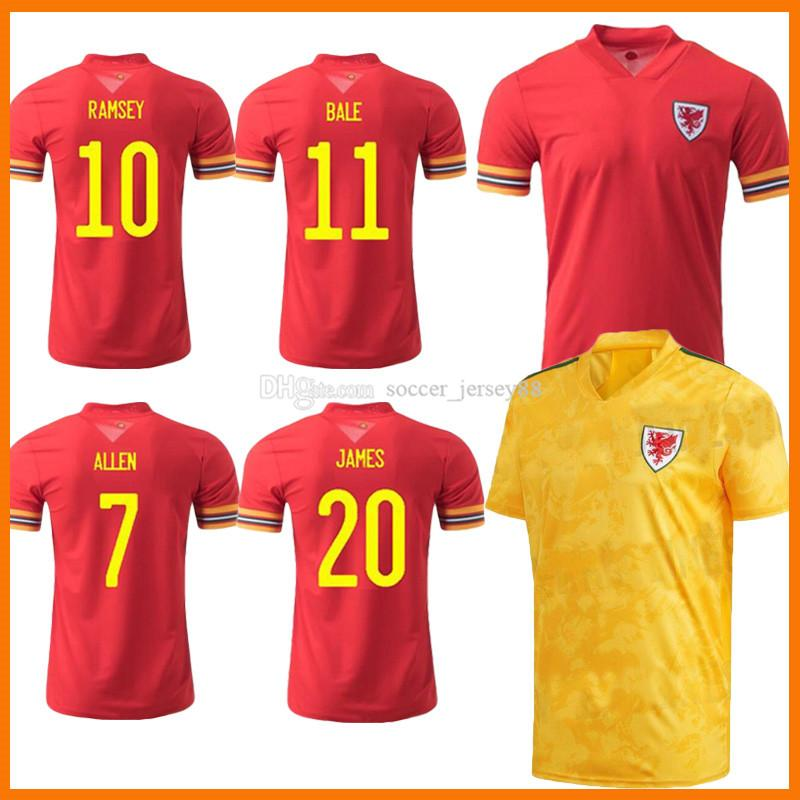 2021 Gales Soccer Jerseys 20 21 Hombres Kits Kits 2020-21 Bala Allen James Ben Davies Wilson Camisetas Inicio Red Away Amarillo Maillot Jersey Camisetas De Fútbol