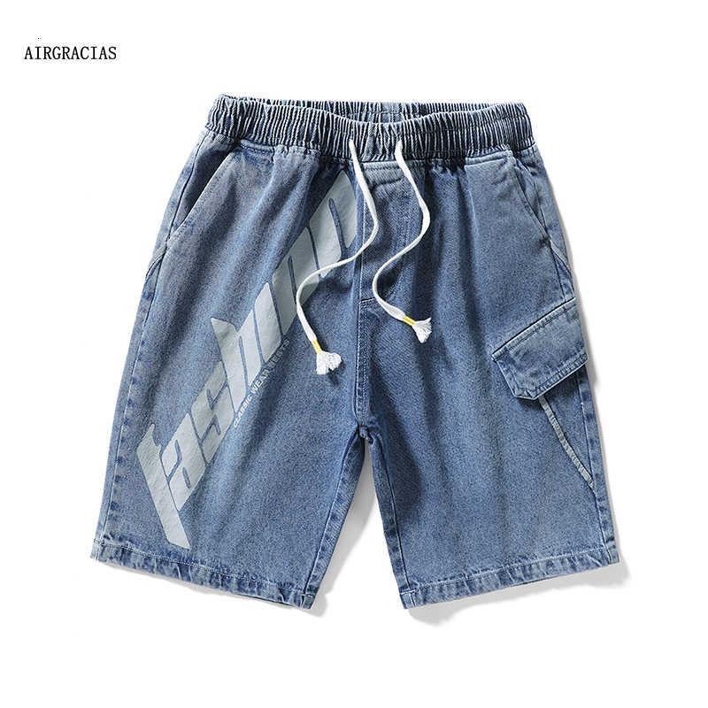 AirGracias Men Denim Shorts Big Mate Casual Jeans Letters English Letras Respiración Grasa Impresiones de cinco puntos Hombres Broek M-8XL