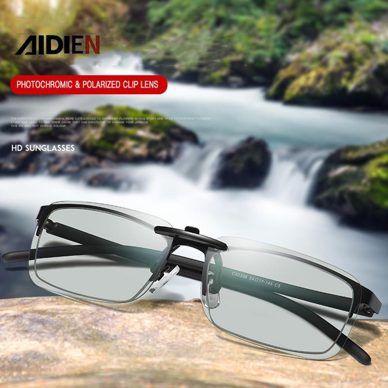 Clip photochromique sur lunettes de soleil Lentilles polaroïdes Hommes de conduite de conduite de soleil Vision nocturne près de la vue Myopia Antiglare Goggle