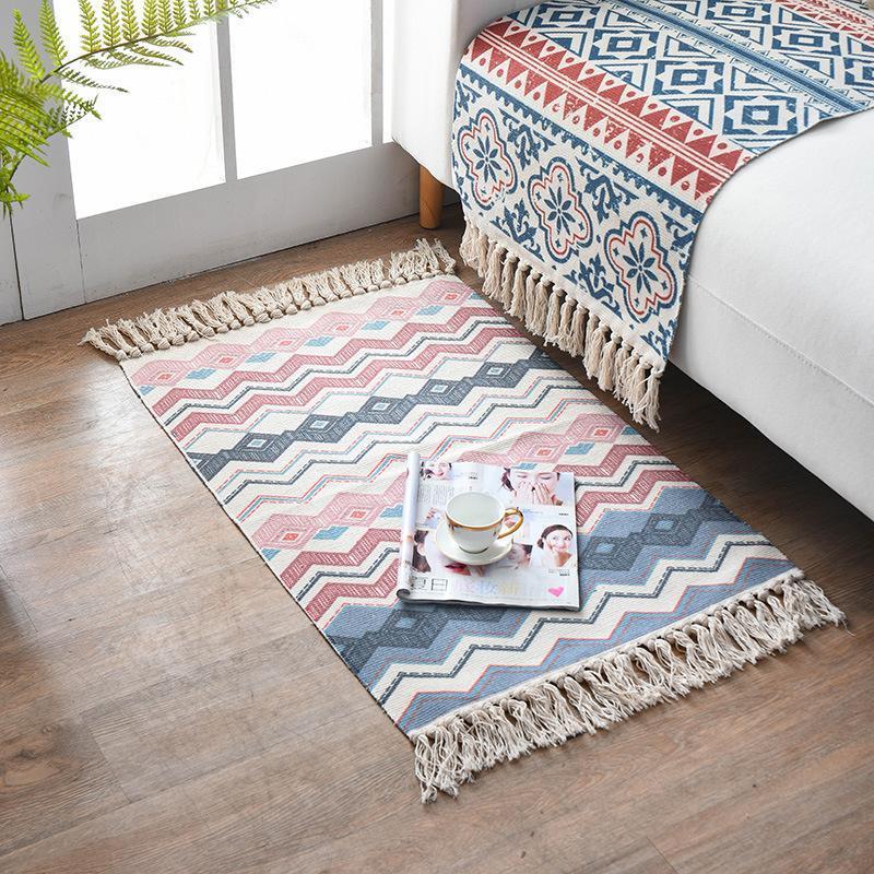 Teppiche Home Dekoration Gewebt Matte Quaste Knotte Druck Modern Minimalistische Nachttischteppichdekor