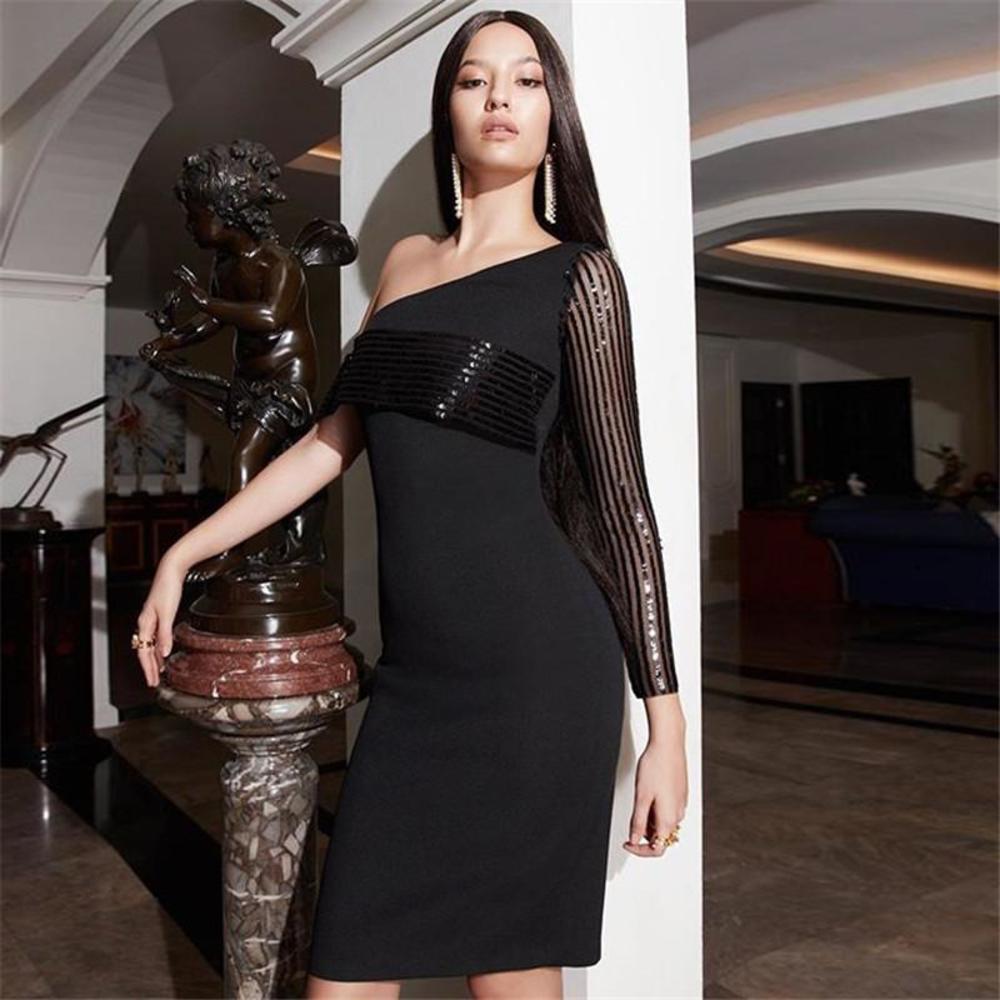 Женщины осенний стиль черные сексуальные сетки блестки одно плечо спинки длины спинки bodycon bandage платье 2021 элегантный вечерняя вечеринка DR повседневная драйва