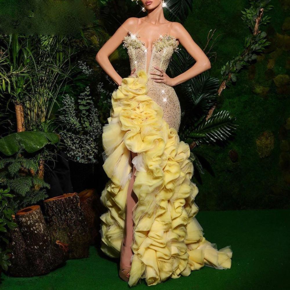 Великолепные вечерние платья с кристаллом без рукавов блестки блестки обмотки платья выпускного вечера 2021 ruched custom изготовленные на заказ длинные конкурс Pageant Powne de Mariee