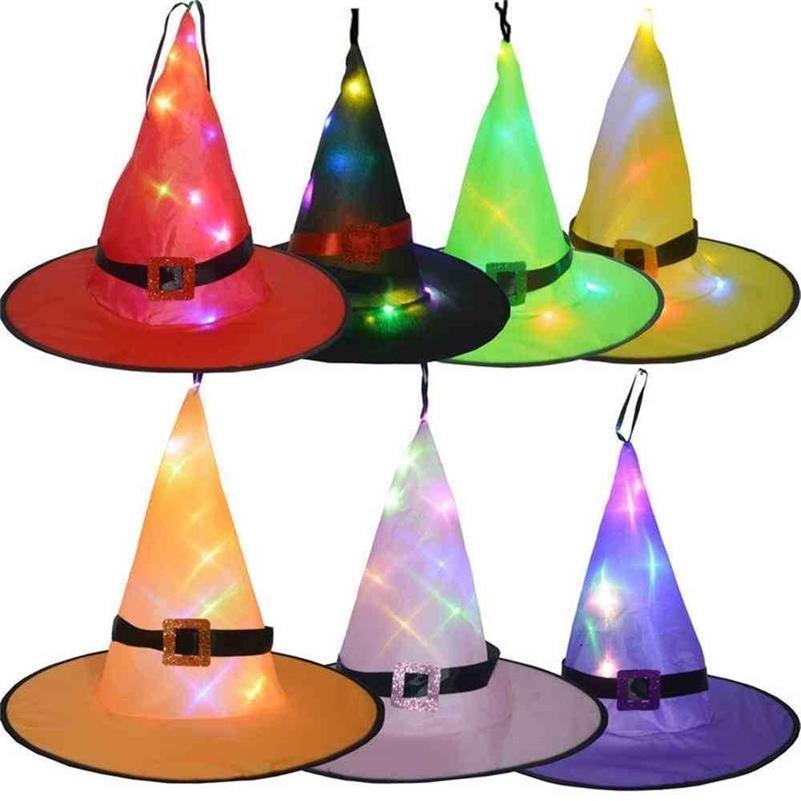 Cadılar bayramı Cadı Şapka Aydınlık Sihirbazı Şapka Kolye Ile Halat Ev Parti Masa Dekorasyon Glow Koyu Renkli LED Kap Kapalı Işık Decorg76VU8s