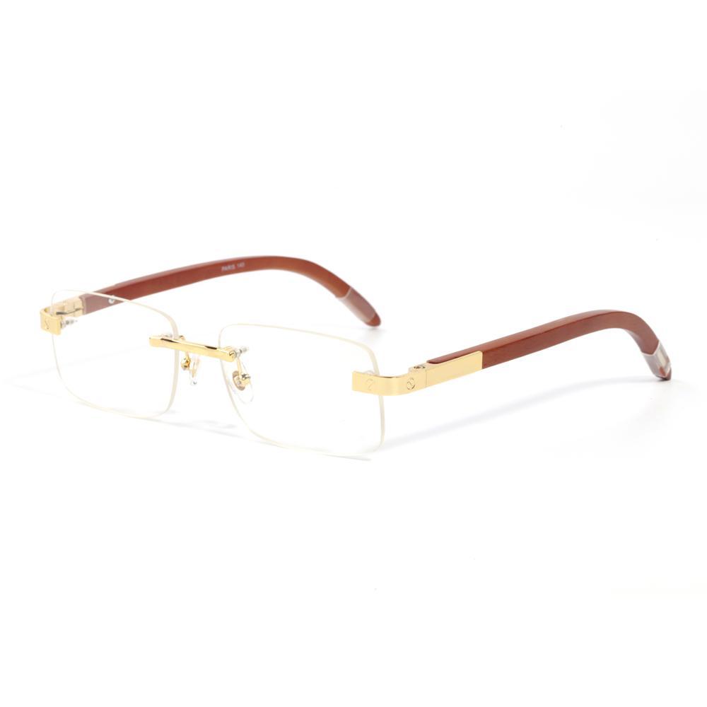Çerçevesiz Ahşap Güneş Gözlüğü Erkek Kadınlar için Unisex Leopar Altın Metal Moda Tasarım Yüksek Kaliteli Sürüş Goggle Buffalo Boynuz Güneş Gözlükleri Kutuları Lunettes de Soleil