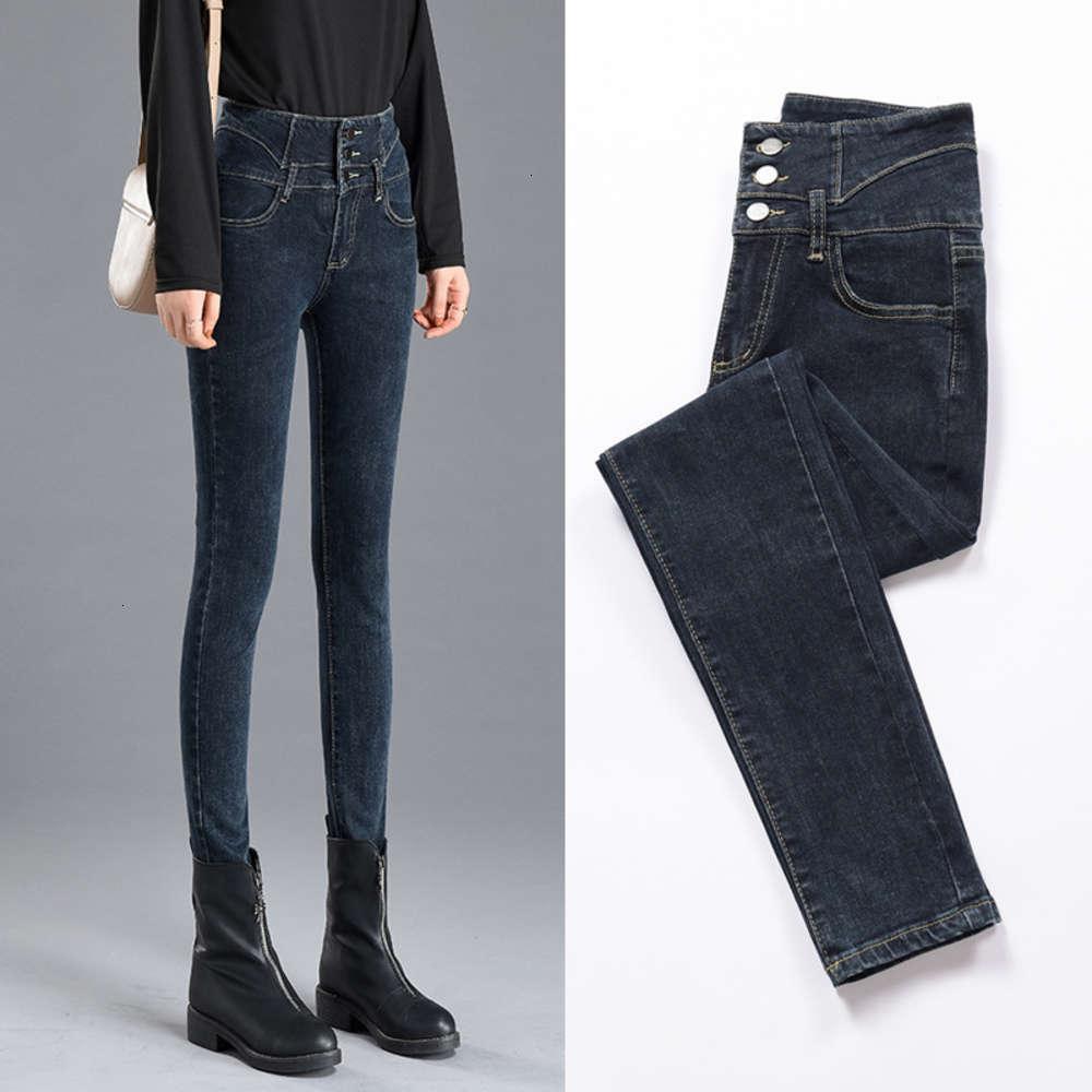Outono e inverno 2020 jeans jeans elásticos femininos de cintura alta pequeno pé apertado plush tamanho grande espessoso calças slim
