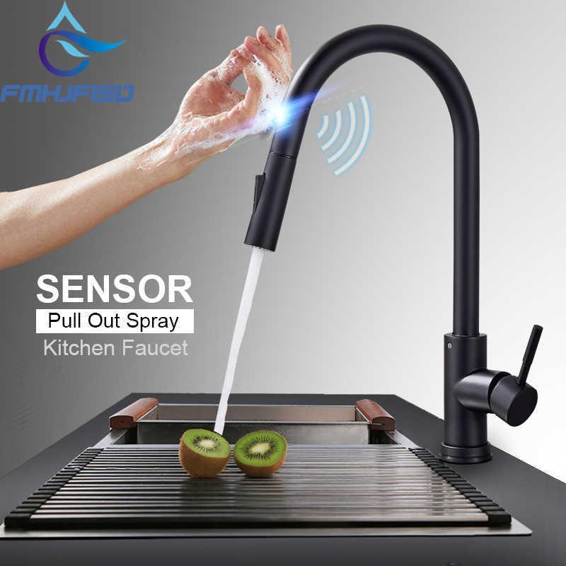 Fâmulas de cozinha FMHJFISD Faucets Preto Toque Inteligente Indutivo Torneira Sensível Misturador Torneira Torneira Única Torneira Dual Outlet Water Modos 210724