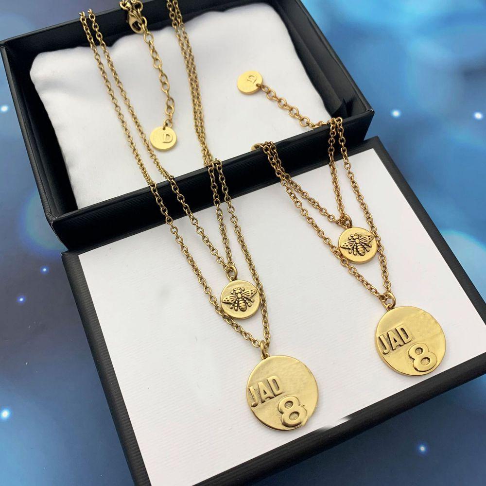 Bracelet Pendentif Mode Collier avec lettre Femmes Lovers de mariage Engagement cadeau Bijoux de luxe
