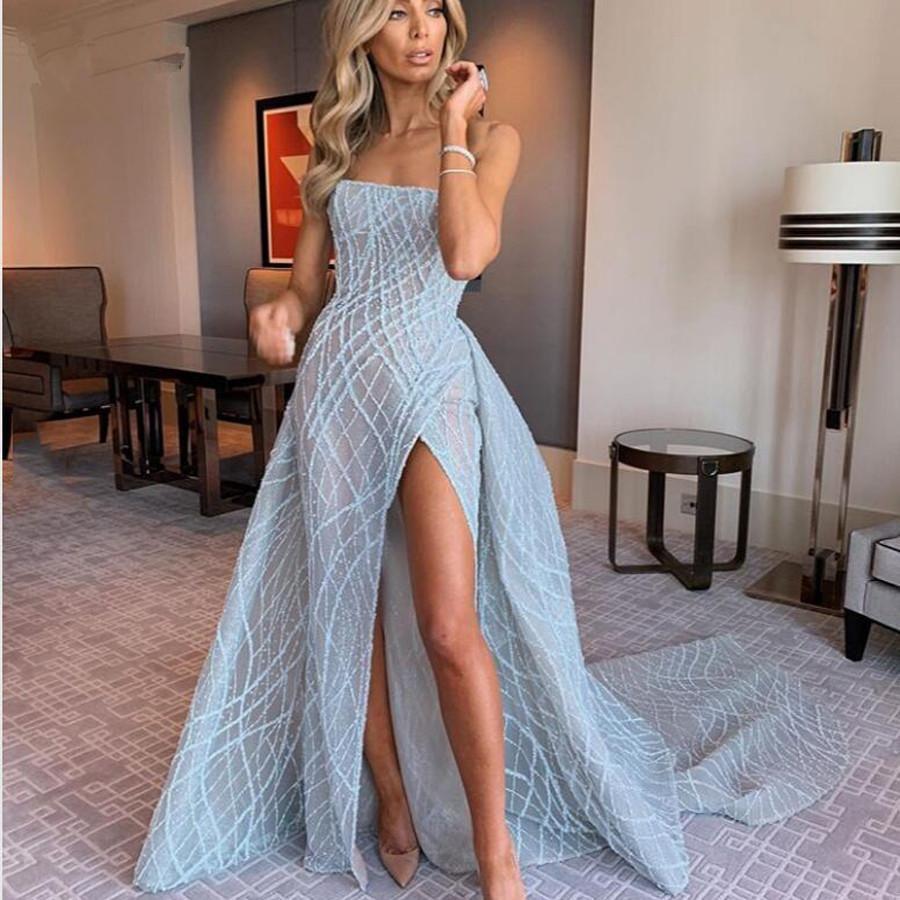 2021 새로운 섹시한 럭셔리 아기 파란색 인어 댄스 파티 드레스 탈착식 열차 하이 사이드 스플릿 스팽글 레이스 롱 댄스 파티 가운 공식 드레스