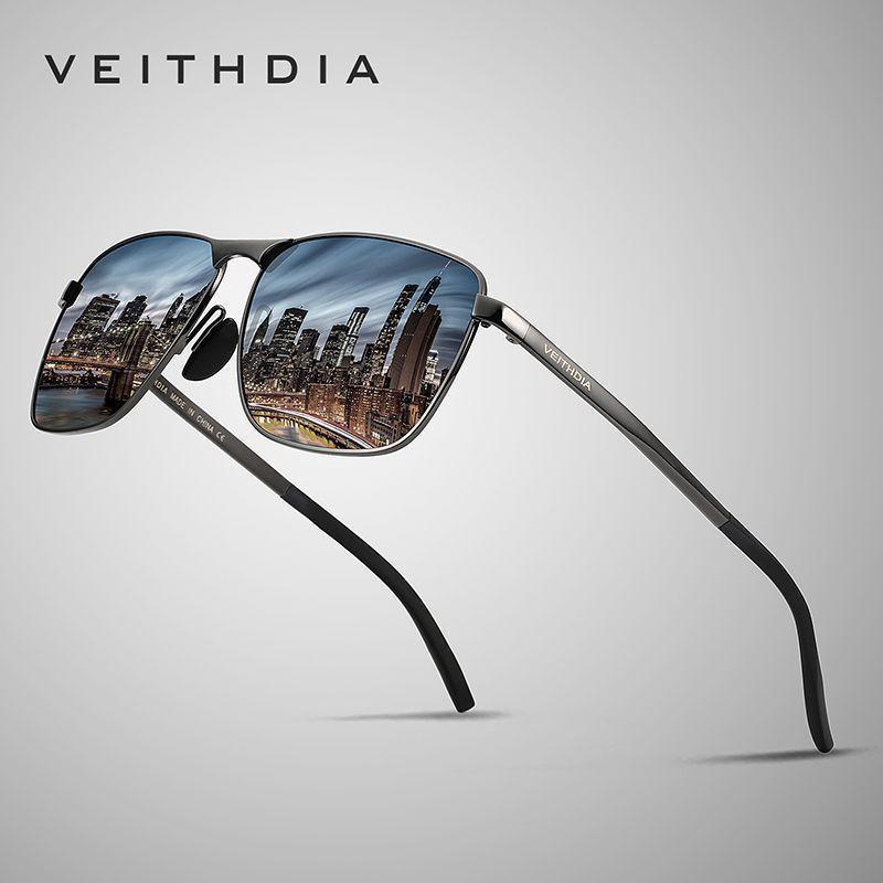 선글라스 Veithdia 브랜드 디자이너 패션 스퀘어 선글라스 망 편극 된 코팅 거울 태양 안경 남성 2462에 대한 안경 안경 안경