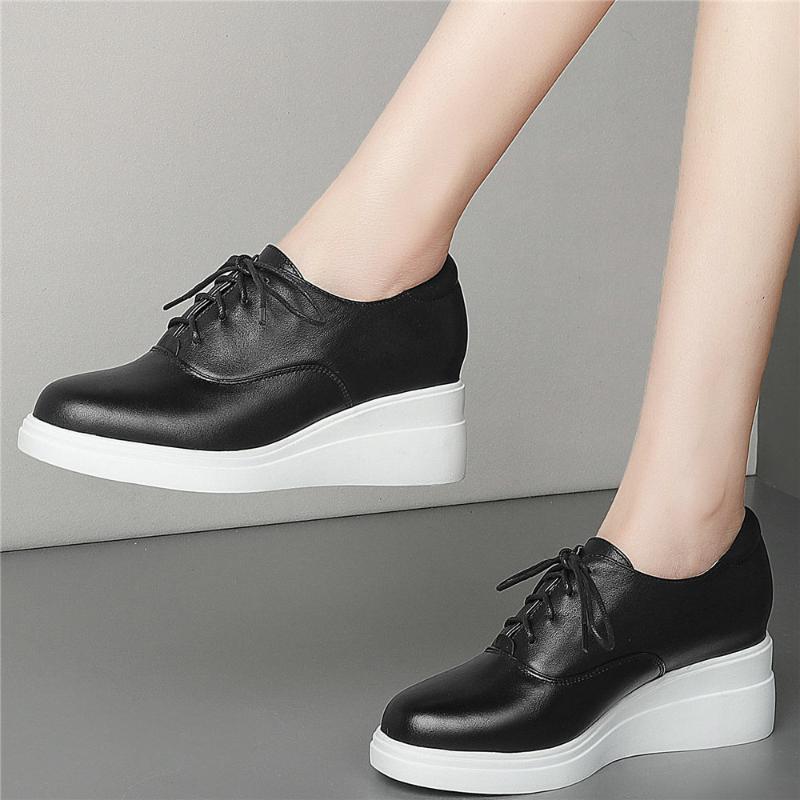 Pompe piattaforma Scarpe da donna Guesticoste in vera pelle Tacco alto Tacco alto Sneakers Femmina Low Top Top Toe Stivaletti Caviglia Abito casual