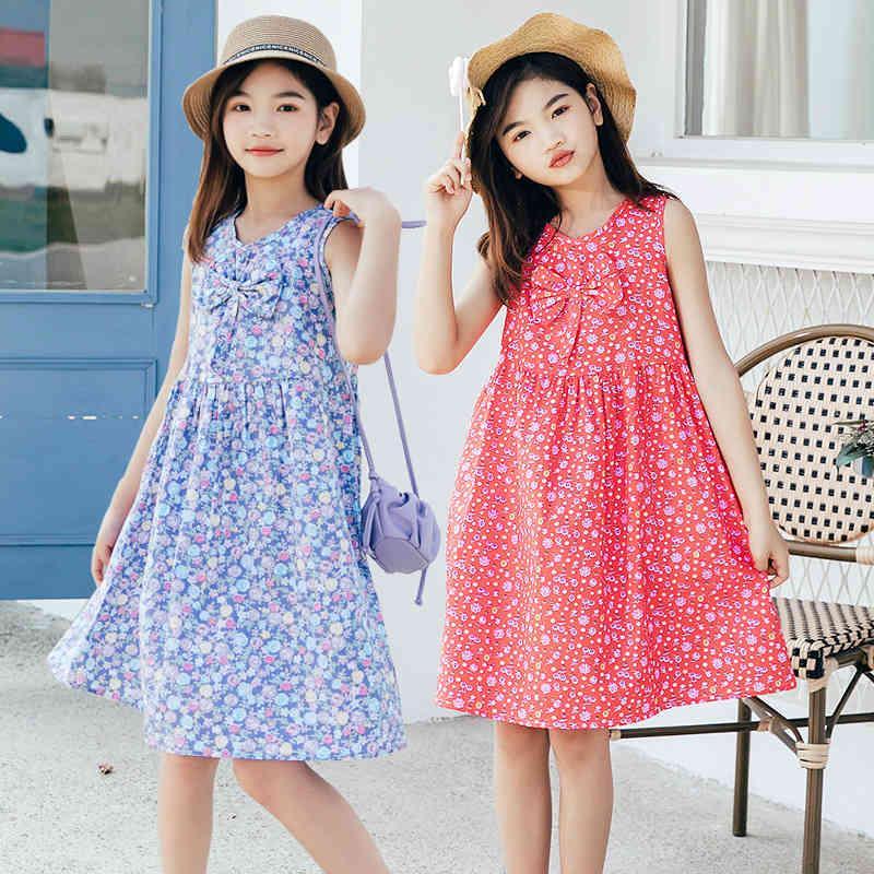 Vestito per bambini 2021 Estate New Girl Pure Pure Cotton Princess Gonna gilet multicolore