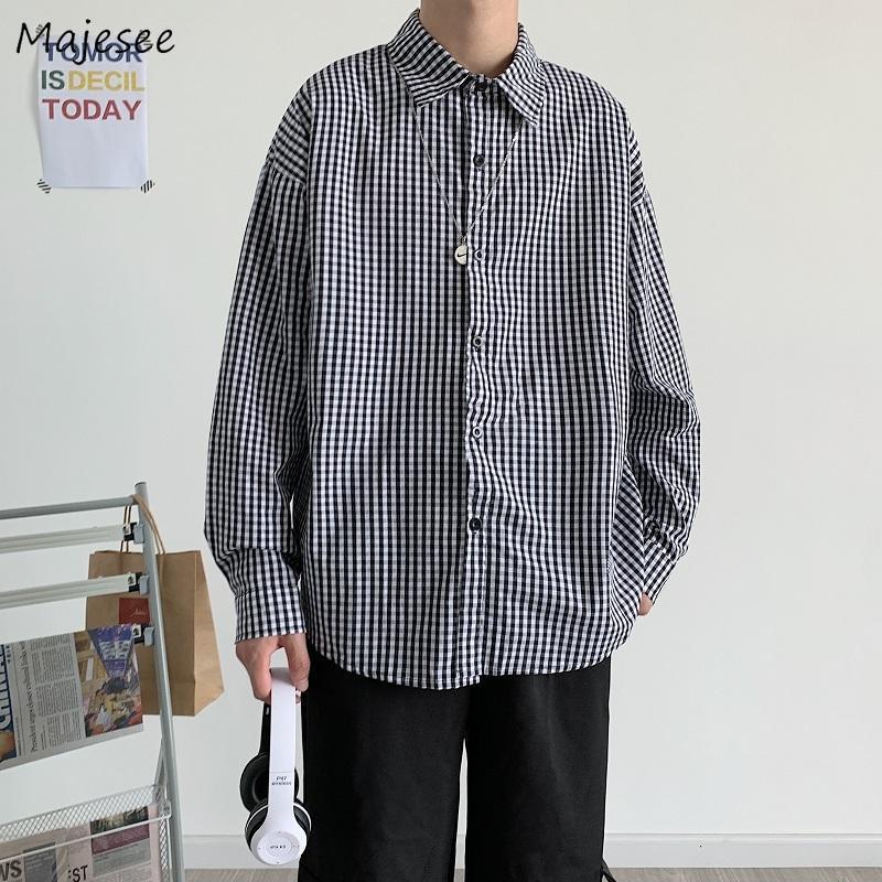 남성용 격자 무늬 셔츠 대형 3XL 긴 소매 여름 느슨한 캐주얼 BF 하라주쿠 한국어 세련된 모든 일치 Ulzzang Streetwear 남자