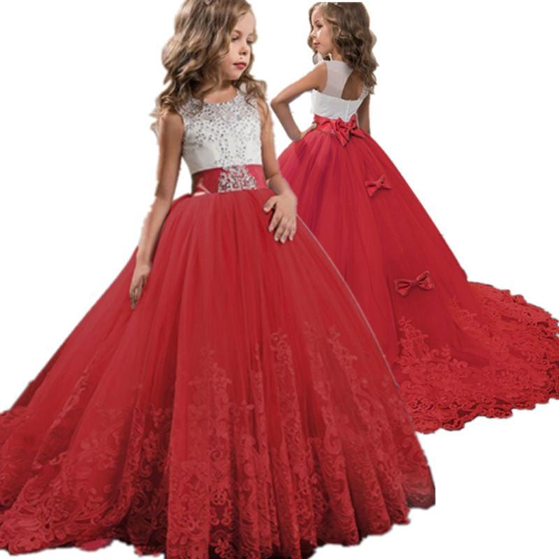 Kızın Elbiseleri Kırmızı Kız Dantel Nakış Noel Doğum Günü Partisi Elbise Çiçek Gelinlik Örgün Çocuklar Kızlar Için Genç Giysileri 6 14 YRS