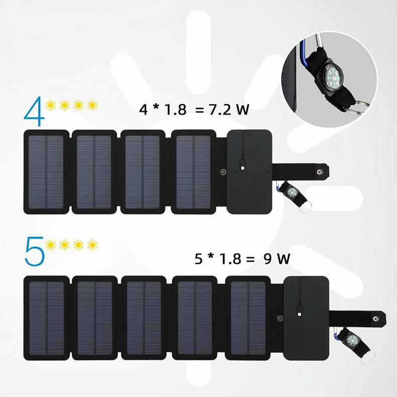 9W 모노 태양 전지 패널 충전기 휴대용 태양열 야외 긴급 5V / 2A 전원 충전기 휴대 전화 정제