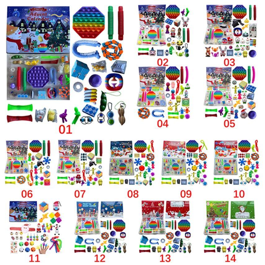 14 Style Christmas Fidget Giocattolo Avvento Calendario del calendario del Dicembre 24 giorni Push Bubble 24pcs / Set Silicone Stress Stress Reviever Giocattoli sensoriali di mare lla993-