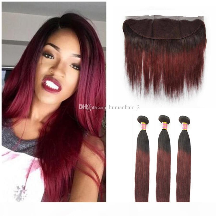 Wein-rot-ombre peruanischer menschliches haar mit frontal seidig gerader 1b 99j burgund ombre 13x4 spitze frontal schließung mit 3 bündeln 4 stücke los
