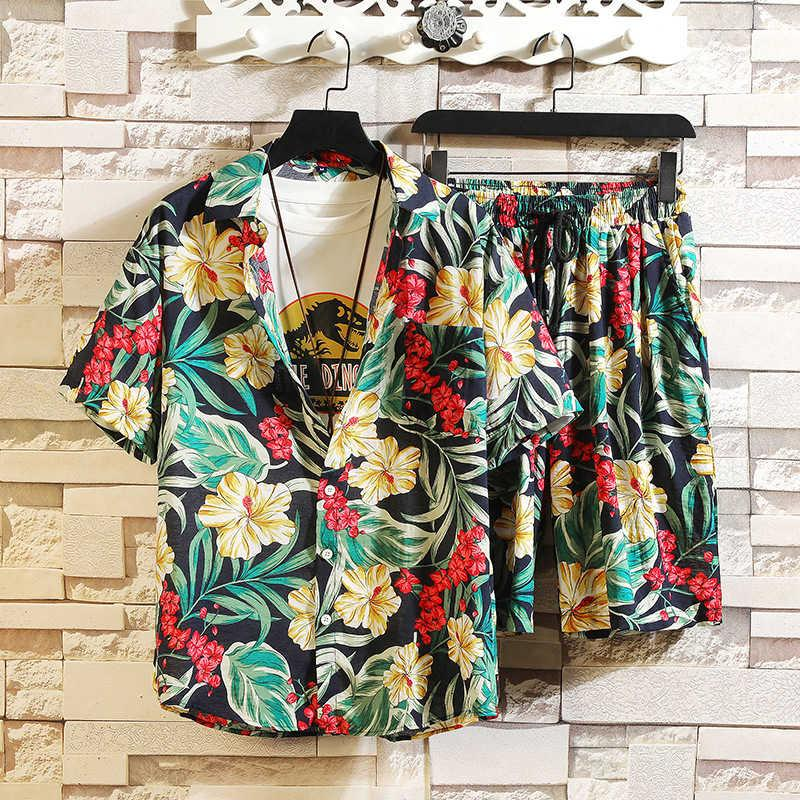 Summer youth Decor printed tracksuit men's Beach multi color loose Short Sleeve Shirt Shorts two piece suit
