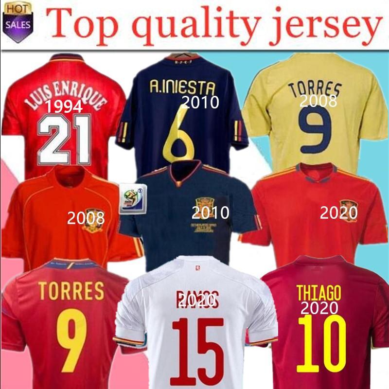 2020 Espanha Retro Soccer Jersey 1994 Raul Hierro Luis Ensrique Xavi Alonso Caminero Iniesta Puyol Pique David Villa 2010Torres 2008 2012 1996
