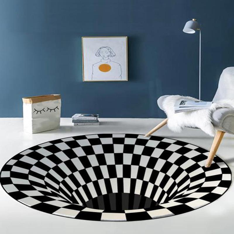 Alfombra decorativa Dibujos animados de dibujos animados Alfombras para la cama de la cama de la cama Flanela Algodón de algodón antideslizante Diámetro 60 cm 1pc