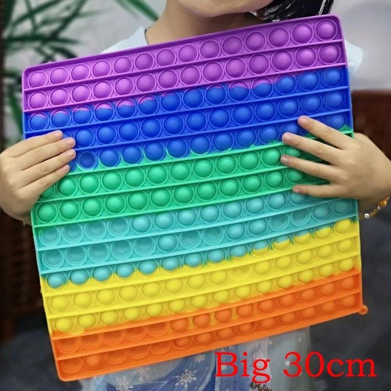 Große größe fidget spielzeug 30 cm schieben it quadratische antistress spielzeug blase fights sensory squishy jouet pour autiste für erwachsene kinder gif