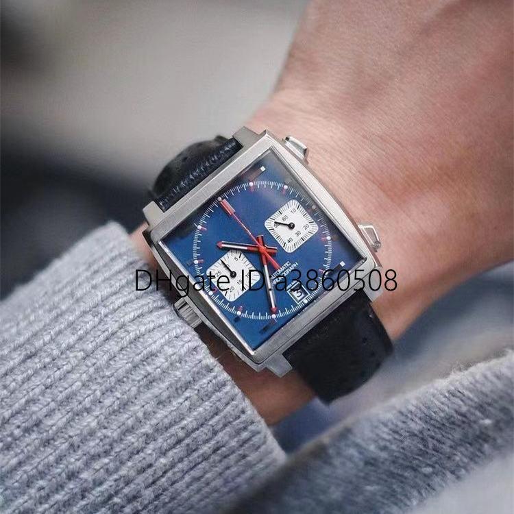أعلى vk كرونوغراف الكوارتز ساعة للرجال الفولاذ المقاوم للصدأ ساعة اليد الجلود حزام الرجال موناكو الرياضة الساعات، orologio di lusso