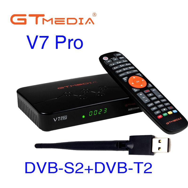 GTMedia V7 Pro Satellite Set Top Box TDT DVB-S DVB-T TV Support H.265 10bit with WiFi antenna USB / CA card reader