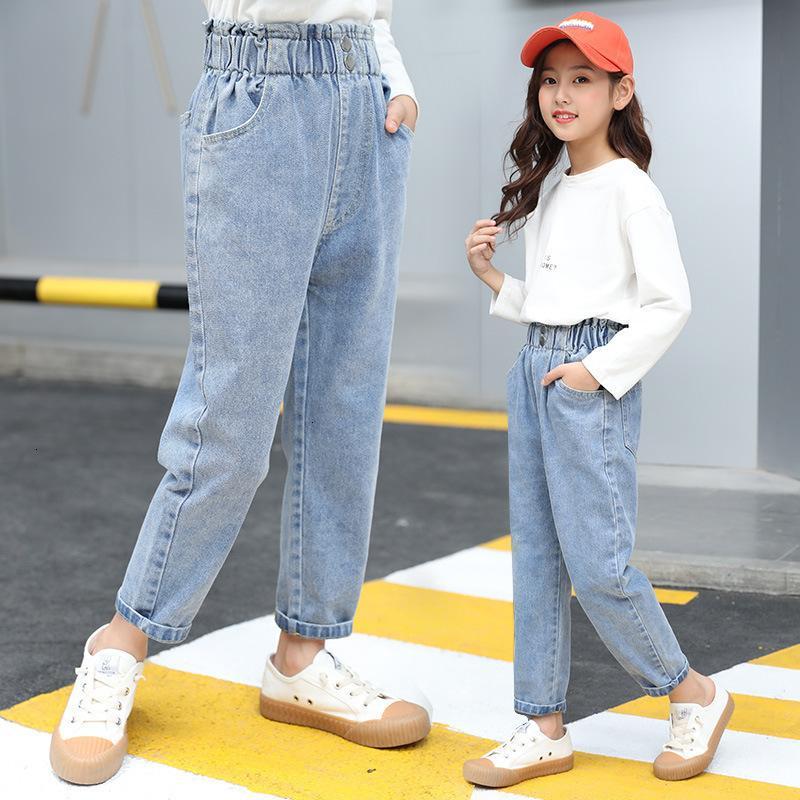 2021 Kleidung Mädchen Jeans Blumenknospe Taille Hose Mittlere und große Kinderkoreanische Button Lose Hosen