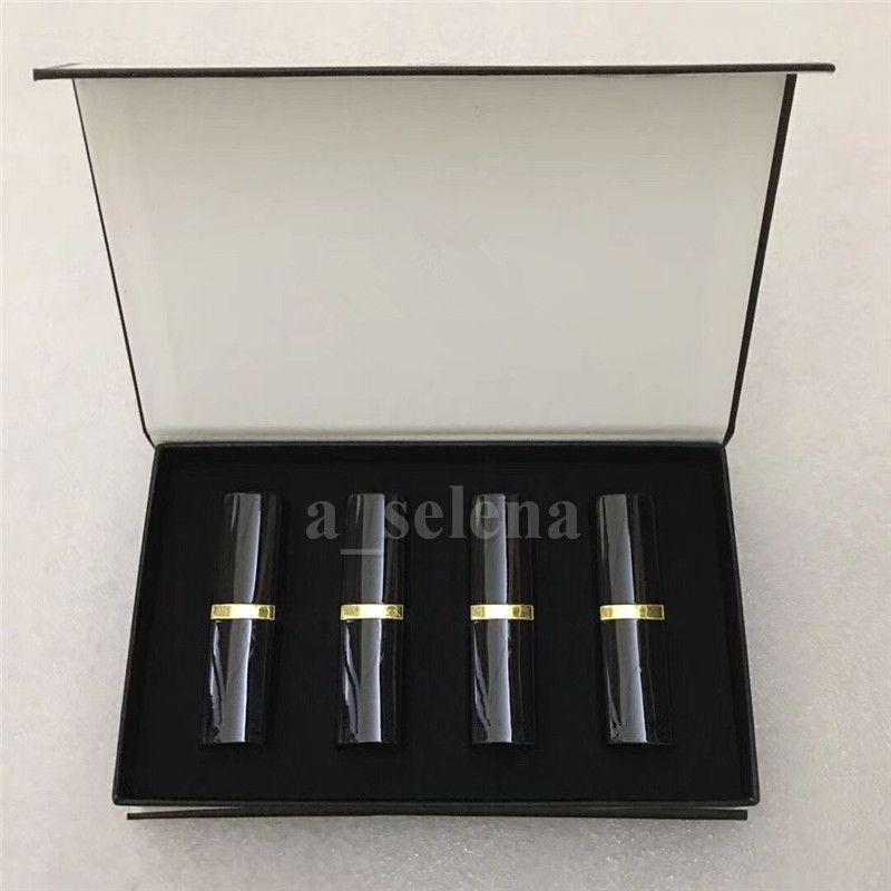 Maquillage de la lèvre professionnelle Matte Rouge à lèvres 4 Couleur Lèvres Cosmétic Black Tube 4PCS / Kit de haute qualité