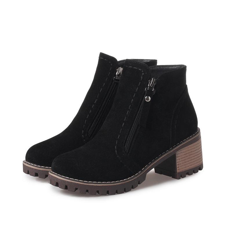 Moda New Llegan las botas de las mujeres Negro gris beige cremallera bandada botines redondos Toe Square Tacones Damas Botas