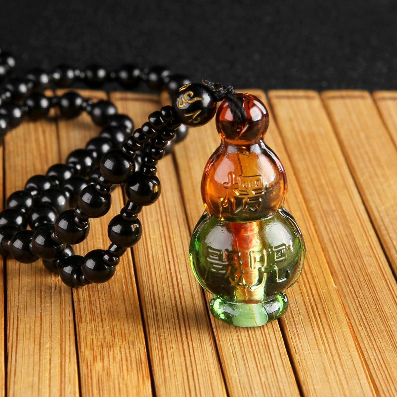 Collar de vidrio Lengyan Full Mantra Escritura Temple Bond Aquarius Security Accesorios
