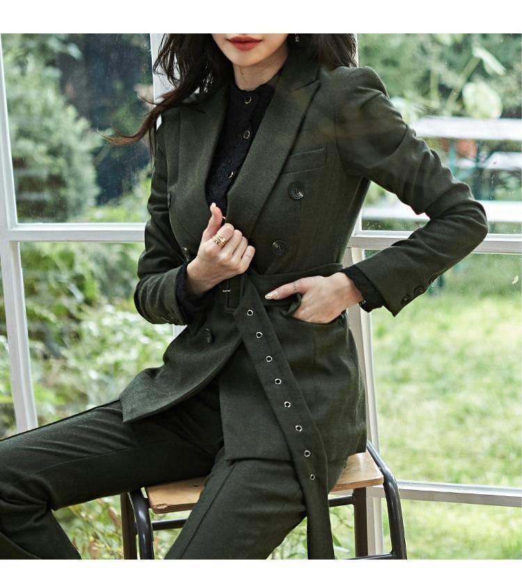 Women's Suits & Blazers 2021 Autumn Winter Korean Green Slim Business Blazer + Pant 2 Two Piece Set Women Office Lady Notched Jacket Trouser