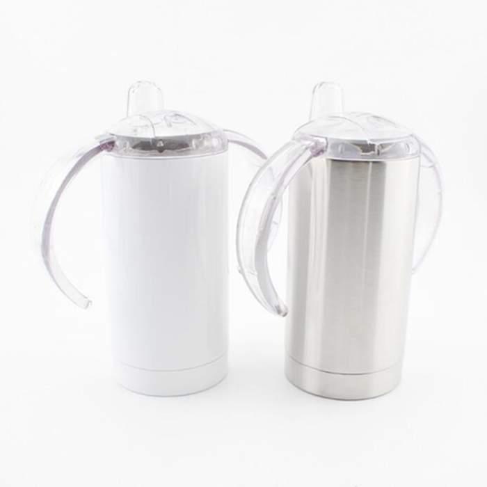التسامي بهلوان آذان مزدوجة القدح زجاجة القهوة مع غطاء ختم اثنين اليد السيطرة زجاج 10 أوقية الفولاذ المقاوم للصدأ كأس معزول WY1225