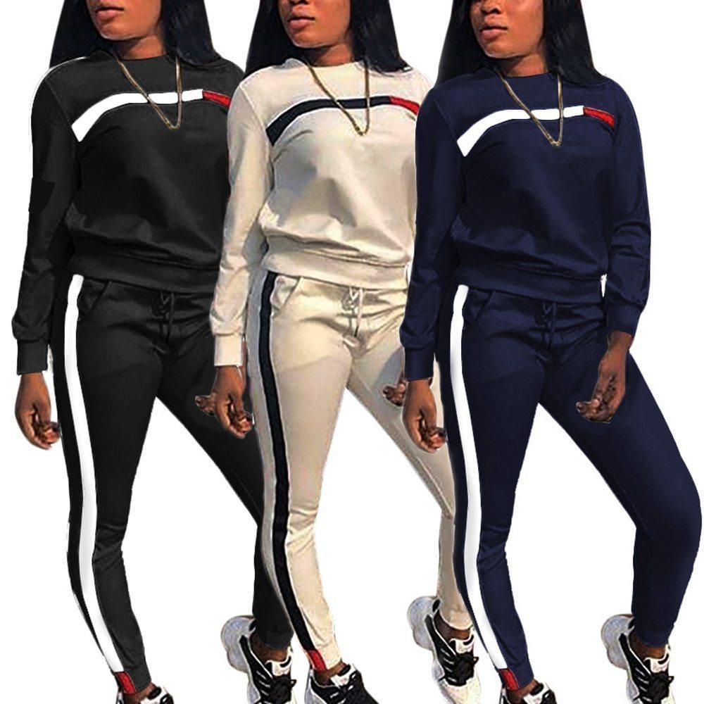 2021Autune Mode Femme 2 pièces Ensemble Set TrackSuit Patchwork Top + Pantalon Jogging Femme Cuissons Sports Sports Sports Hot